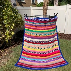 Multicolored blanket handcrafted 60 x 58